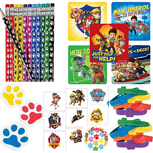 Paw Patrol Party Favor Pack For 24 Perfect to Fill Your Goodie Bags With Paw Pencils, Paw Erasers, Rubber Bracelets, Paw Patrol Stickers, Tattoos, and Exclusive Paw Birthday Pin By Another Dream]()
