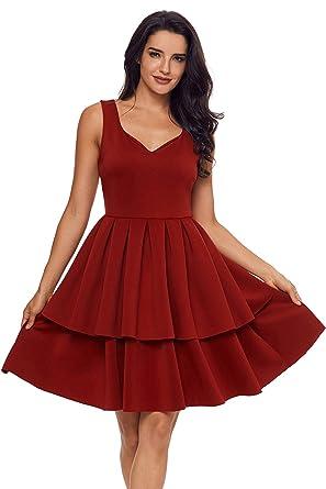 cf5cf9ab122 Grace s Secret Women s Sexy A-Line Dress V Neck Sleeveless Tiered Short  Prom Dress Burgundy