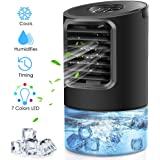 Peodelk Portable Air Conditioner Fan, Mini Evaporative Cooler with 7 Colors Light Changing, 3 Fan Speed, Super Quiet…