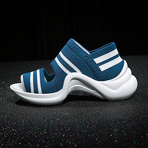 Deporte Grueso Mujeres Universal Informal Zapatos Plataforma Fondo Moda Nuevas de azul QQWWEERRTT Sandalias Verano xq0AUU