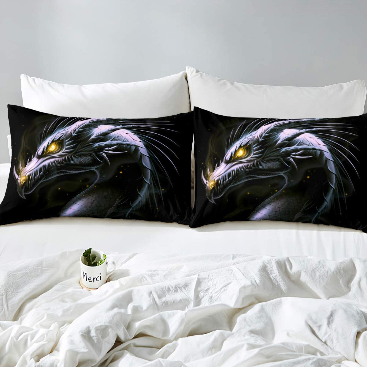 1 Fitted Sheet /& 2 Pillow Case Dragon Black Star Bed Sheet Set Full 54x75 Animals Theme Printed Microfiber Bed Fitted Sheet Set for Teen Girls Novelty Bedding Set 3pcs