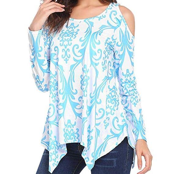 2155e1ce99e056 ZIYOU Damen Bluse Elegante Vintage Tunika Frauen Trägerloser Sweatshirt  Basic Blumen Langarmshirt Oberteile Tops (EU