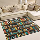ALAZA Vintage Library Bookshelf Bookworm Area Rug Rugs for Living Room Bedroom 7' x 5'