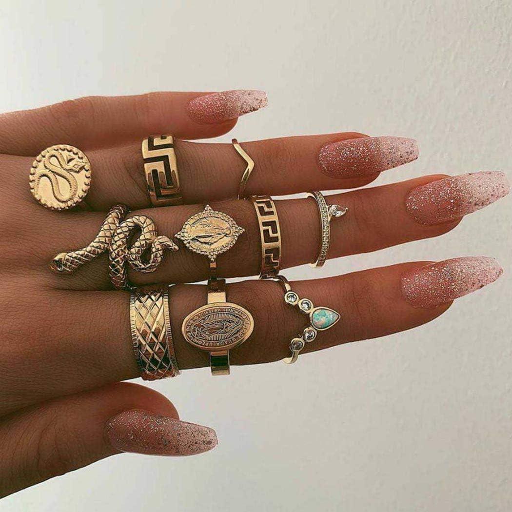 Simsly - Juego de anillos para nudillos, dorados, con cristales, piedras preciosas, de estilo vintage, para mujeres y niñas,10 unidades