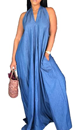 f18e2d70136 Spirio Women Summer Denim Halter Backless Jean Sexy Baggy Maxi Dress Blue M   Amazon.co.uk  Clothing