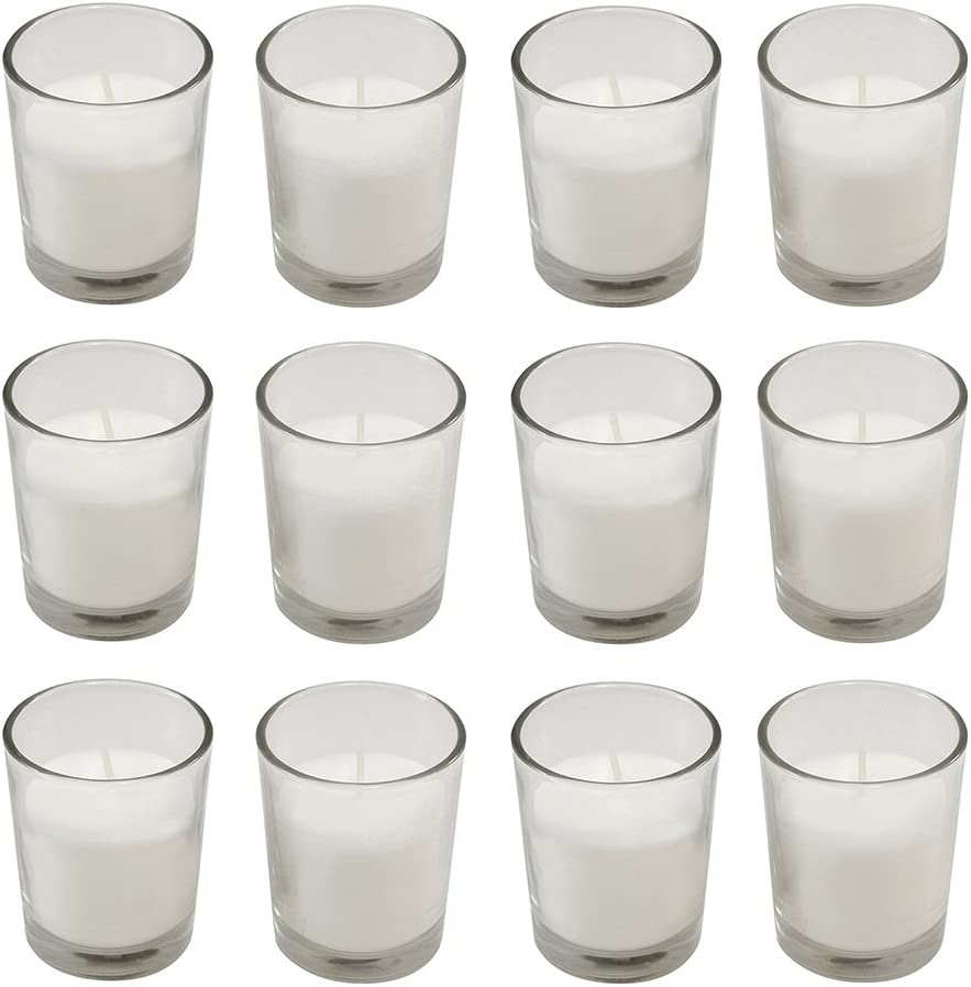 Lumabase Candles (15 Hours) in Clear Glass Votives 12ct