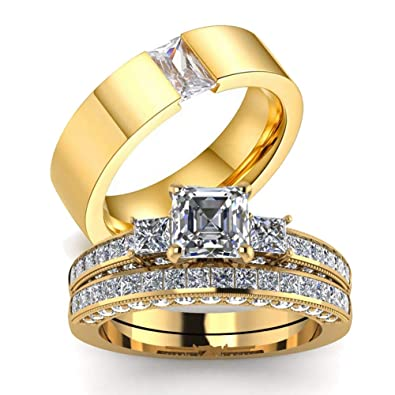 Amazon Com Gy Jewelry His Hers Wedding Ring Sets Couples Matching