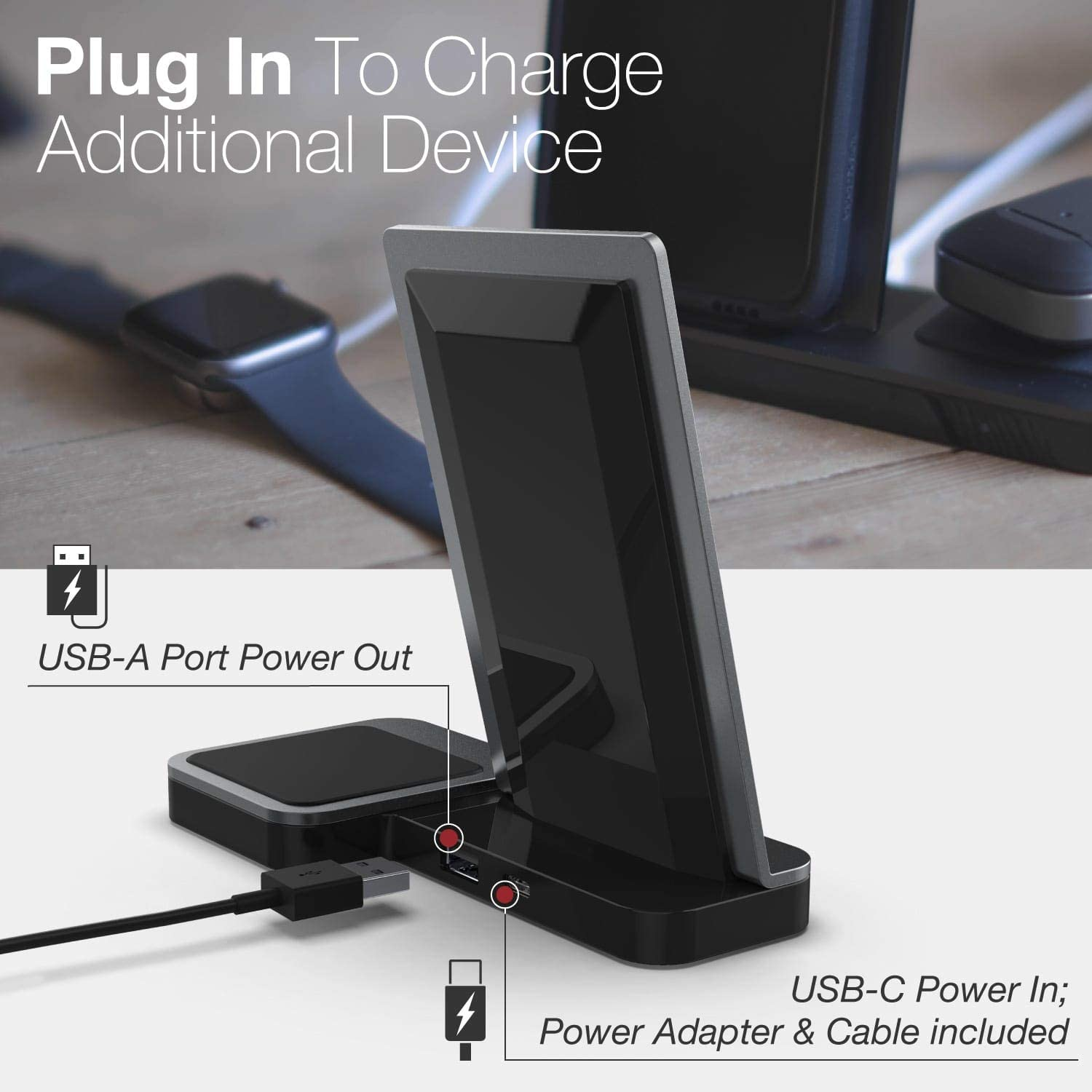 Up to 10W Fast Charging for Apple iPhone Defense Vertical Duo Charger Wireless Qi Charging Stand Black Note and Other Qi Devices Samsung Galaxy Machined Aluminum Frame