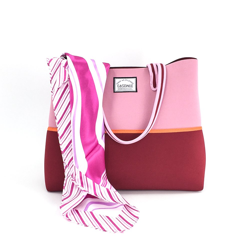 Casewee Neoprene Beach Bag Tote Bags Handbags With Portable Pouch and Bonus Scarf for Women Ladies (Pink Love)