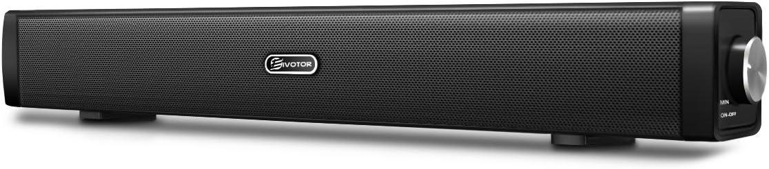 Barra de Sonido,EIVOTOR Barra Inalámbrica para PC Mini Altavoz Soundbar USB Portatil con Puerto AUX de 3,5 mm Estéreo Dual 3D (2x3W),Negro
