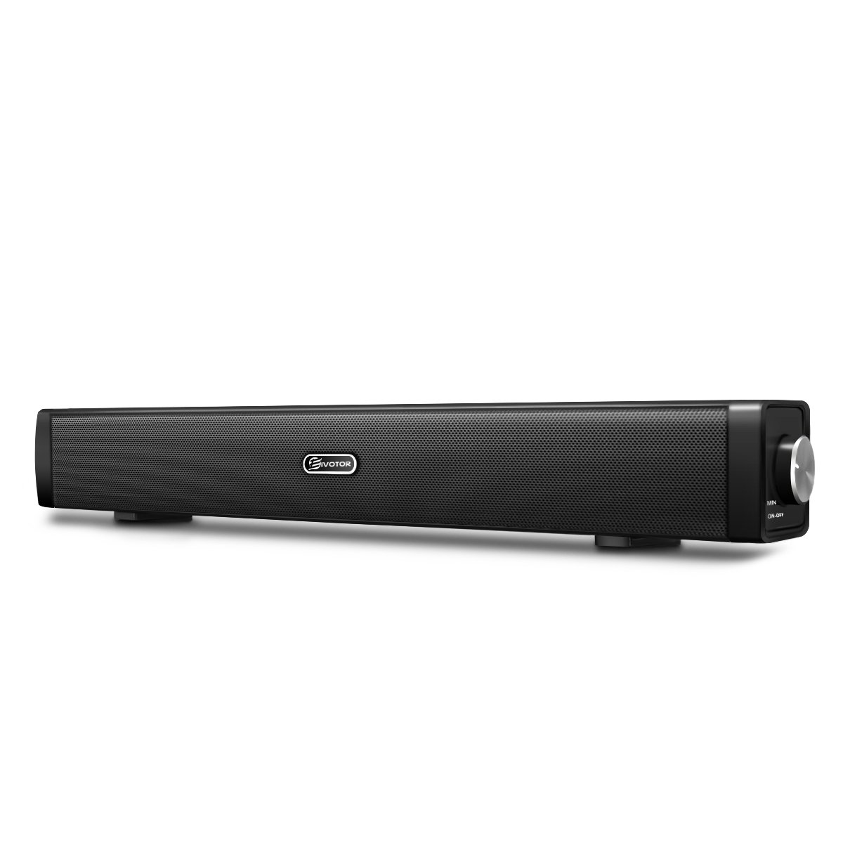 Barra de Sonido,EIVOTOR Barra Inalámbrica para PC Mini Altavoz Soundbar USB Portatil con Puerto AUX de 3,5 mm Estéreo Dual 3D (2x3W),Negro