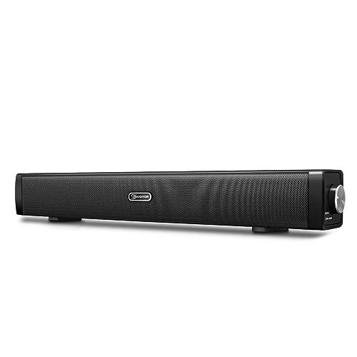 EIVOTOR Barre de Son USB, Mini Haut-parleur Portable Enceinte Speaker Soundbar Filaire pour PC Ordinateur TV Autres aux Port 3.5mm