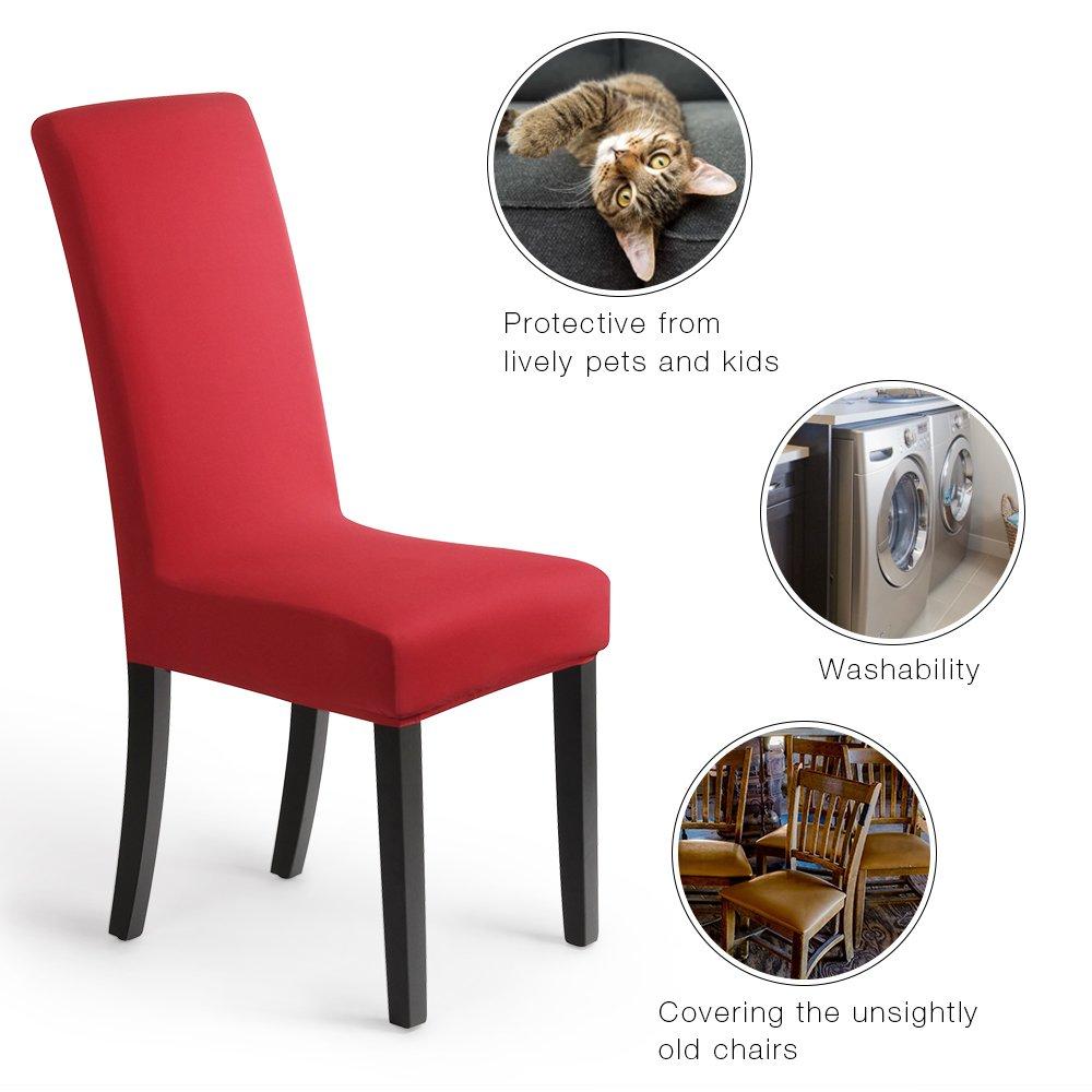 Fundas para sillas Pack de 4 Fundas sillas Comedor Fundas elásticas, Cubiertas para sillas,bielástico Extraíble Funda, Muy fácil de Limpiar, ...