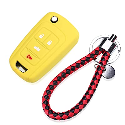 4 Buttons Remote Key Silicone Rubber Keyless Entry Shell Case Fob and Key Skin Cover fit for Chevrolet Camaro Cruze Volt Equinox Spark Malibu Sonic Buick for Opel (YELLOW): Automotive