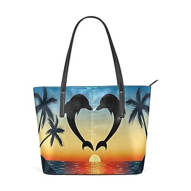 1d6b3ffc3e45 Amazon.com: WOZO Dolphin Love Palm Tree Sunset PU Leather Shoulder ...