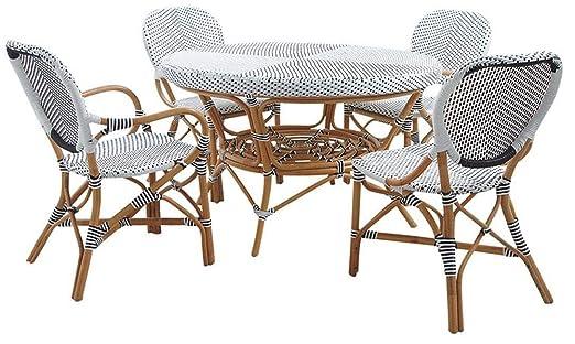 Aubry Gaspard Salón terraza 4 personas de mimbre y resina ...