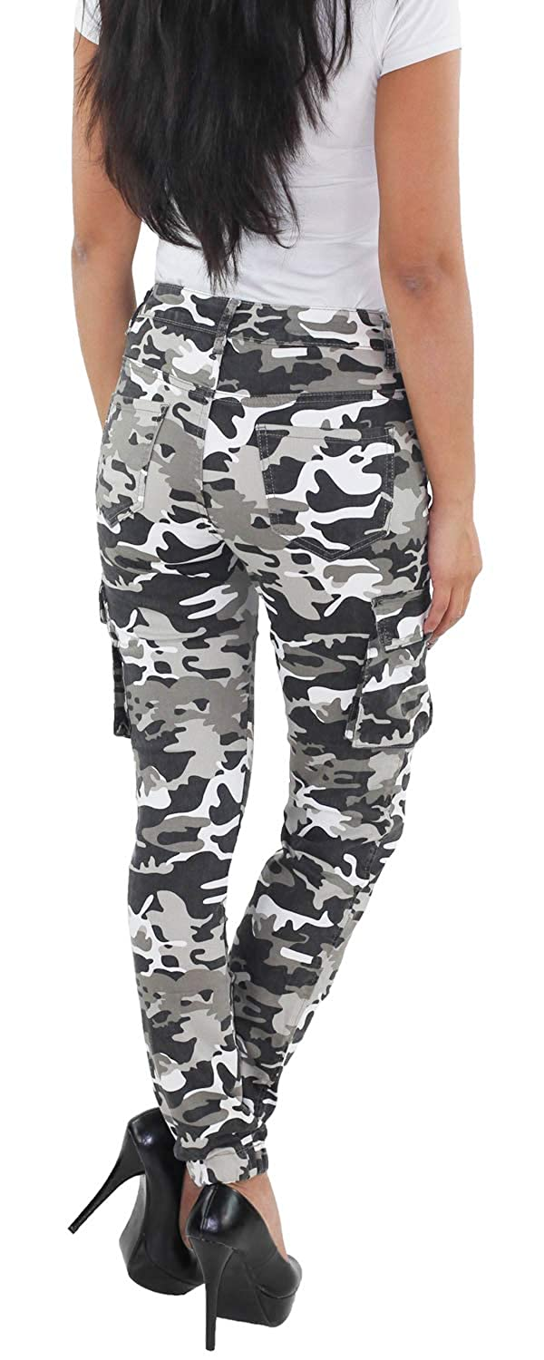 Damen Army Hüft Stretch Treggings Leggings Jeans in Camouflage Muster