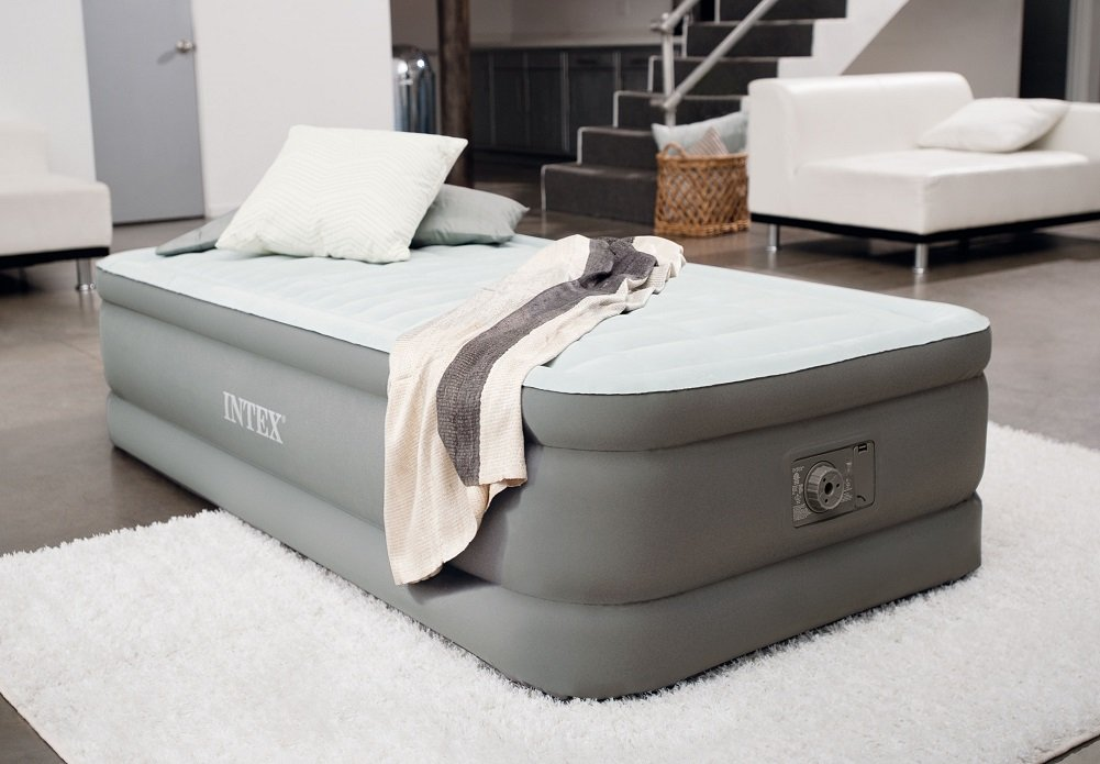 Intex PremAire Elevated Airbed with Built-in Electric Air Pump, Twin