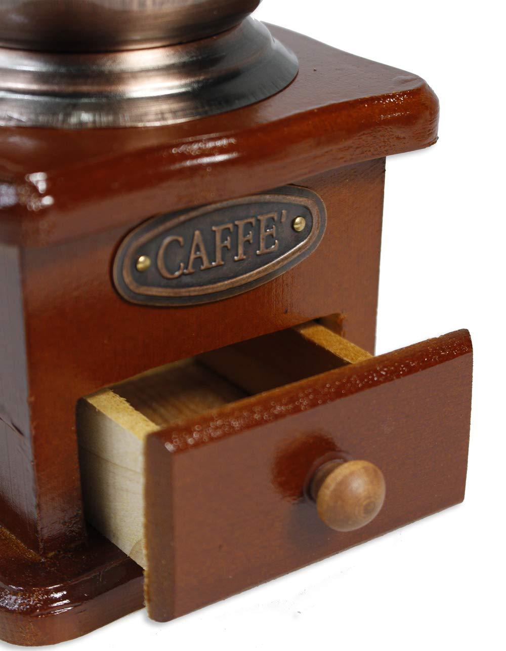 Vetrineinrete/® Macinacaff/è Manuale in Legno Macinino per caff/è macinato a Mano con Manovella e Cassetto retr/ò Vintage Macchina per la Macinatura Chicchi spezie Erbe Casa Bar 9074 F6