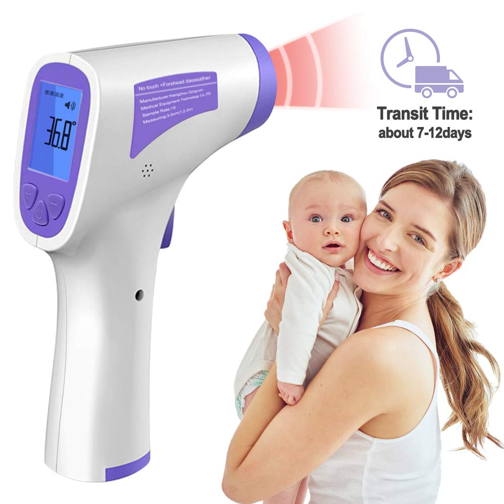 Infrared Thermometer Digital Infrared Forehead Thermometer for Bady and Adult,Non-Contact Digital Thermometer with Fever Alert Function and Digital LCD(Blue)