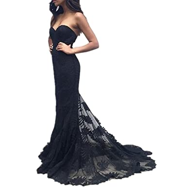 df6a4dba4640 Sweet Bridal Women's Sweetheart Lace Long Evening Gowns Mermaid Prom Dress  Black US2