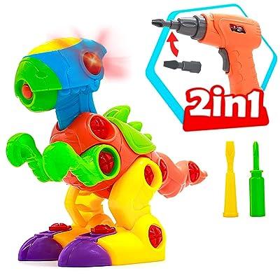 Akokie Dinosaurios Juguetes Puzzle Juegos de Construccion con Taladro Construcciones Regalo para Niños 3 4 5 años: Juguetes y juegos