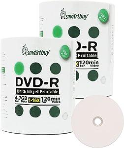 Smartbuy 4.7gb/120min 16x DVD-R White Inkjet Hub Printable Blank Media Recordable Disc (200-Disc)