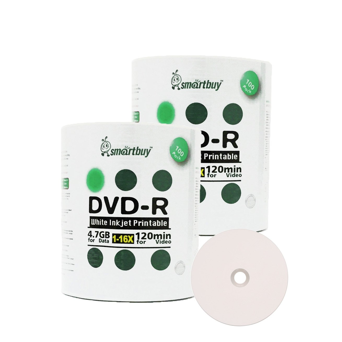 Smartbuy 4.7gb/120min 16x DVD-R White Inkjet Hub Printable Blank Media Recordable Disc (200-Disc)