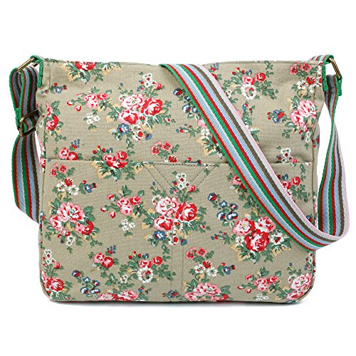 Trendy Apricot Flower Cross Bag London Craze Flower Shoulder Body Design Canvas Womens Messenger nqOfS6A