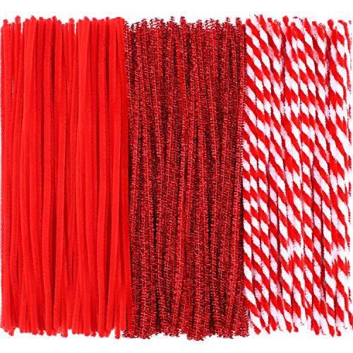 Pangda 240 Pieces Christmas Stripe Pipe Cleaners Glitter Chenille Stem for DIY Crafts Art Supplies (3 Colors)
