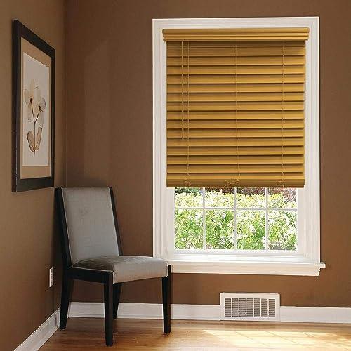 Blinds Emporium Chestnut Light Brown/Tan 2 1/2″ Faux Wood Blind 70 1/2″ x 64″ Actual Size 70 x 64