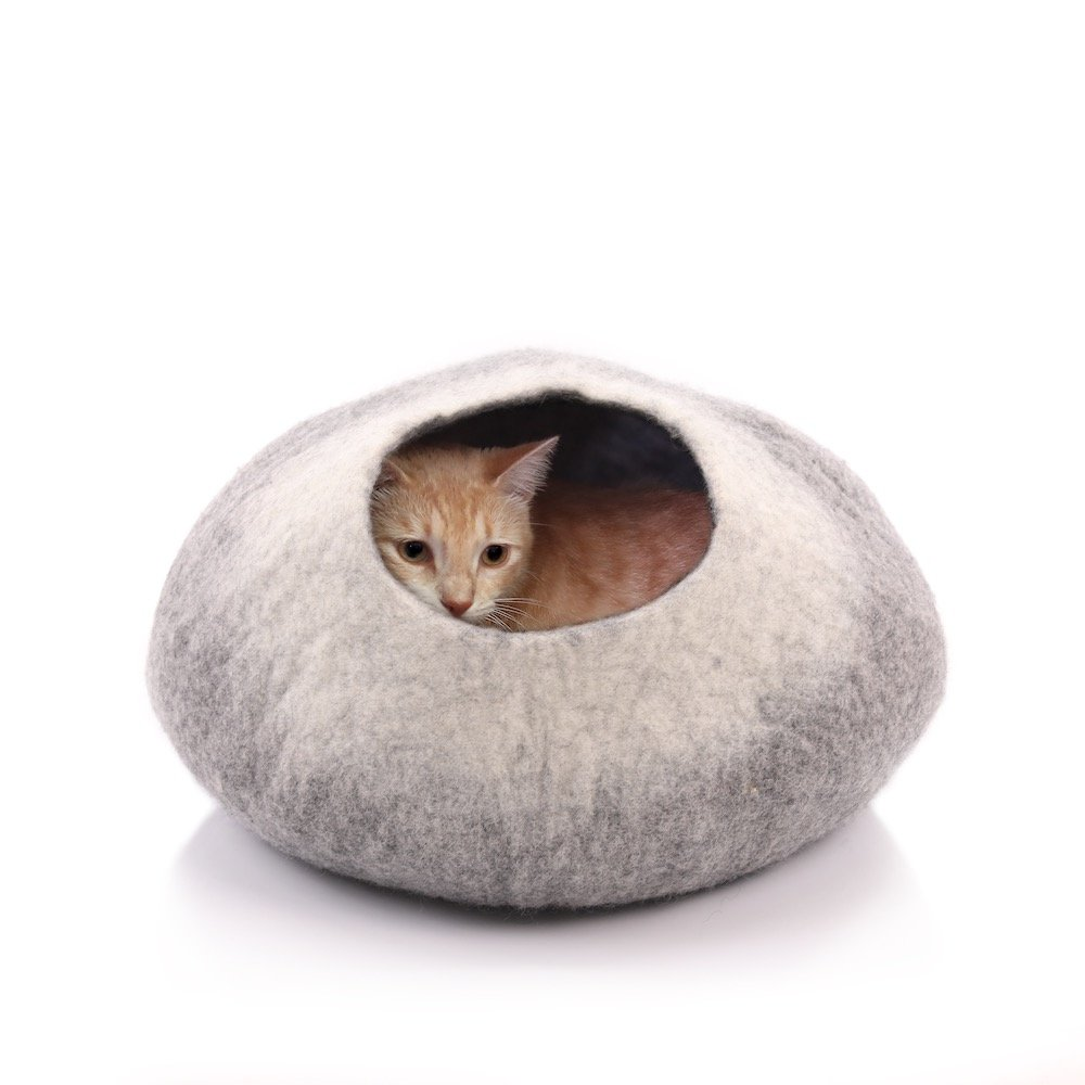 Kittycentric Cozy Cat Cave Bed- Handmade 100% Felted Wool (Large, Dark Grey/ Cream)