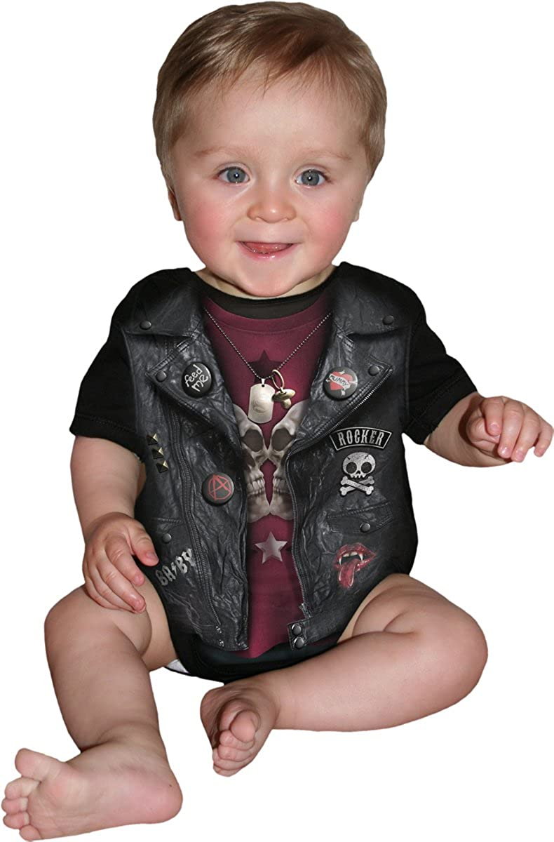 Baby Biker Baby Sleepsuit Black Spiral