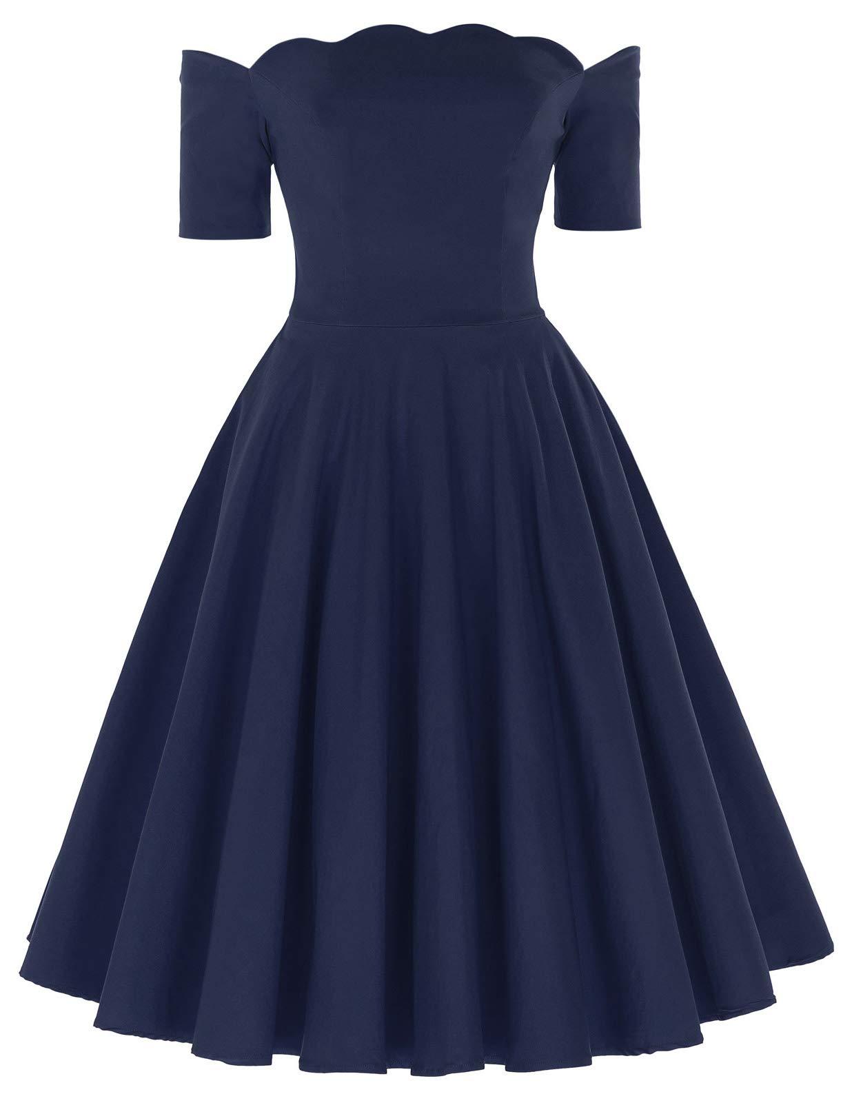 9320223483 PAUL JONES Belle Poque Women s Off Shoulder Swing Dress Party Picnic Dress  product image