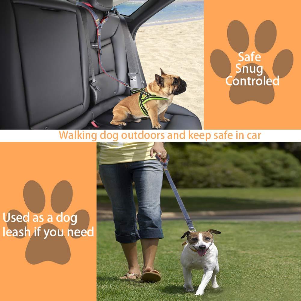 2-Pack Bark Lover Dog Seat Belts for Small Medium Large Dogs Unique Denim /& Nylon Design Adjustable Dog Safety Belt Car Headrest Restraint