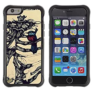 iArmor / Hybrid Anti-Shock Defend Case / Bird Pencil Sketch Bones Skeleton / Apple iPhone 6 PLUS 5.5