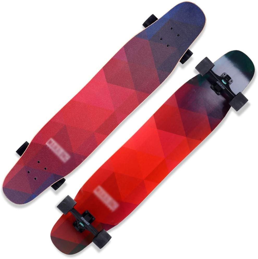 GLJJQMY スクーターメイプルロングボードブラシストリートダンスボード四輪ダブルスケートボードスケートボード初心者ティーンボーイガールプロスケートボード スケートボード (Color : E) E