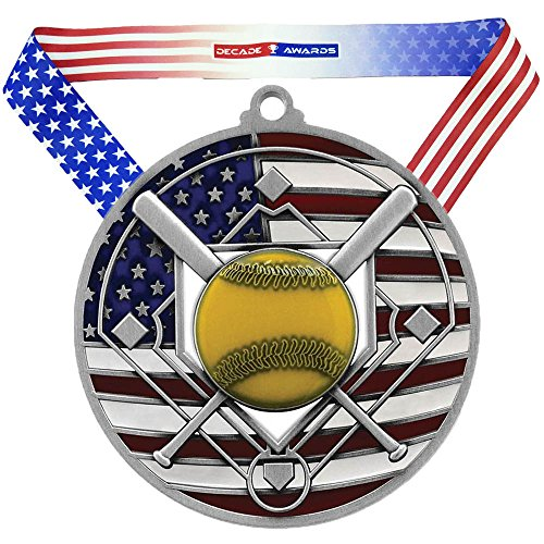 (Decade Awards Softball Patriotic Engraved Medal, Silver - 2.75 Inch Wide Slow Pitch Second Place Medallion with Stars and Stripes American Flag V Neck Ribbon)