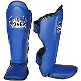 TOP KING PROFESSIONAL GENUINE LEATHER SHIN GUARDS - TKSGP-GL -BLUE