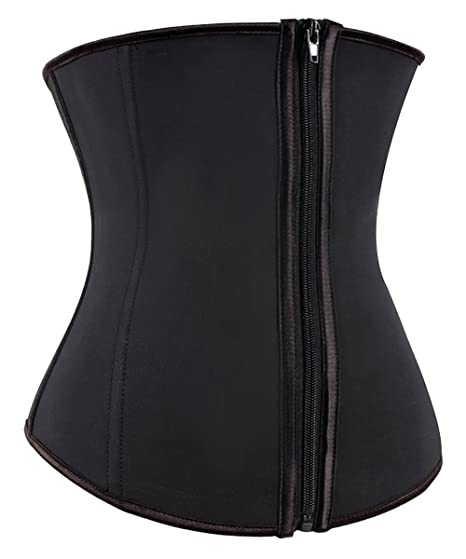 0545b26257 Latex Waist Training Corsets Zip Hook Underbust Fat Burner Hourglass ...