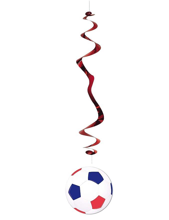 Generique - 6 Decoraciones Balón de Fútbol Azul, Blanco y Rojo 80 ...