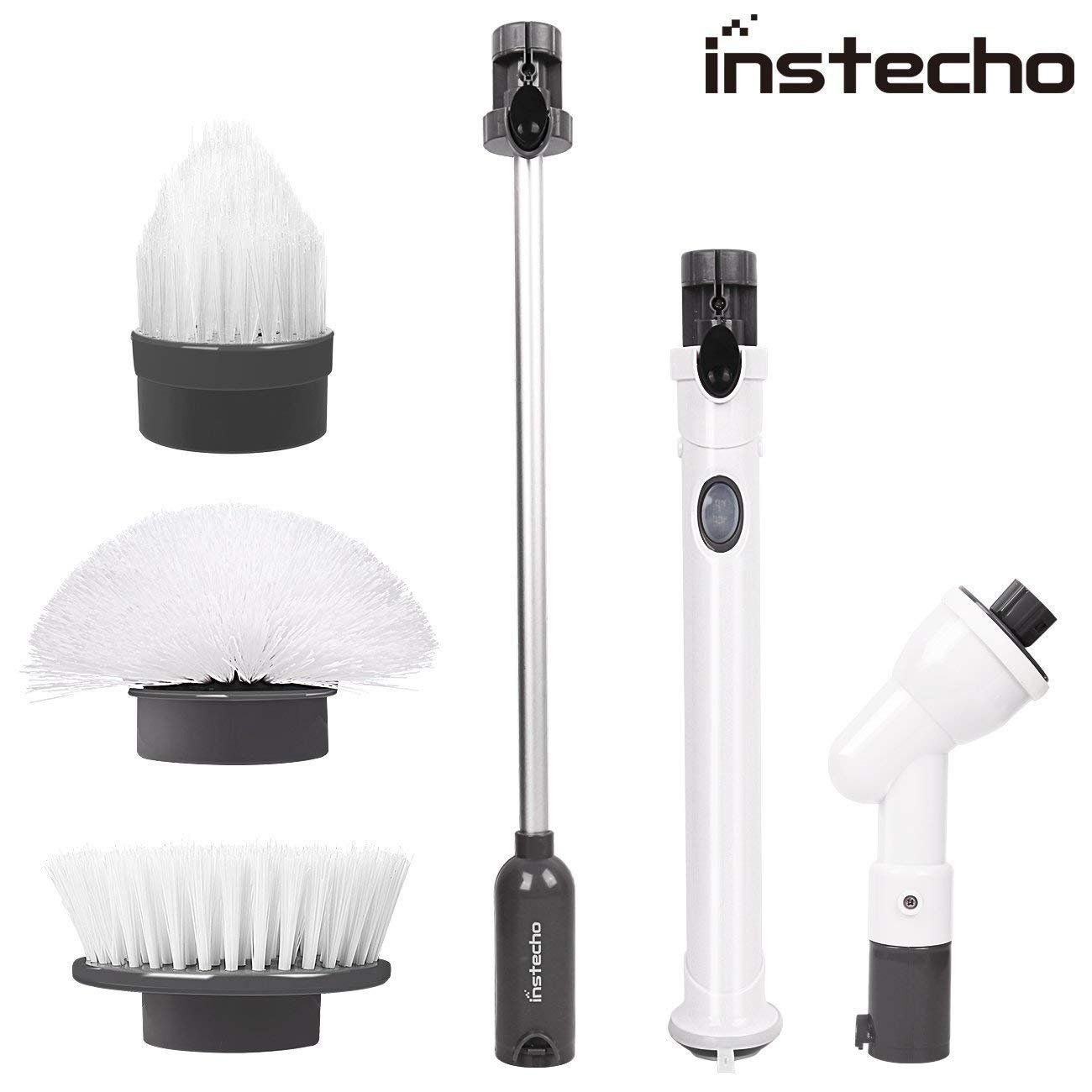 Spin Scrubber, Handheld Rechargeable Cleaner Brush with 3 Replaceable Brush Heads, Scrubber Cleaning Kit for Cleaning Tub, Sink, Shower, Toilet, Bath (Gray)