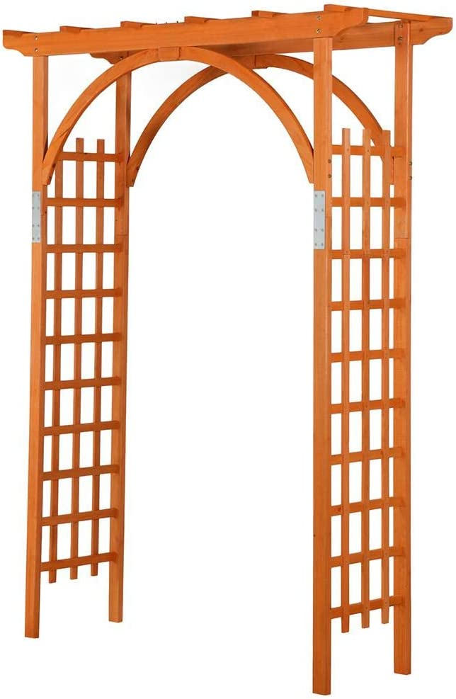 Topeakmart Wood Arbor Arch Trellis Climbing Plant Wedding Garden Patio Bridal Party Decoration Arbor Wood & Iron Outdoor Square Top 63 x 24 x 85in Natural Wood