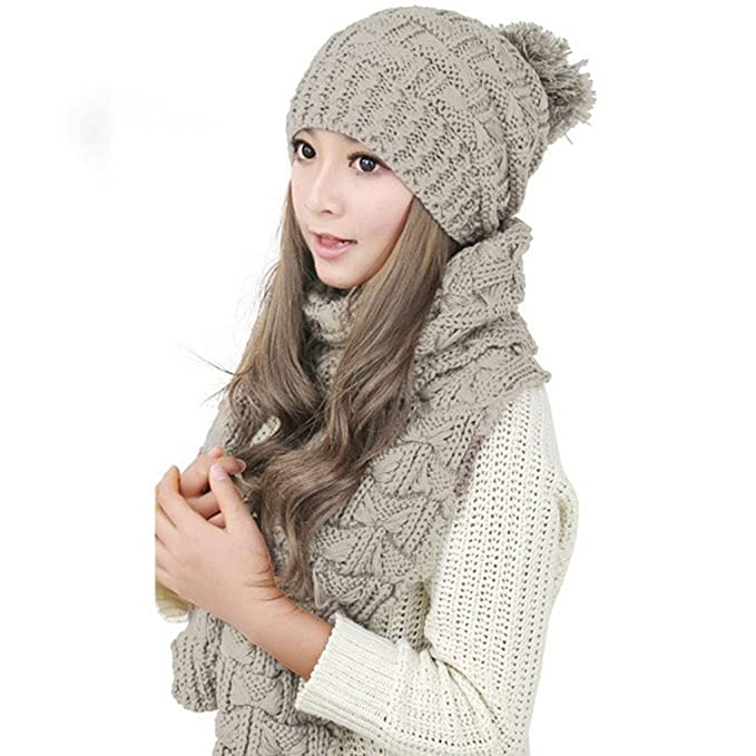 37c044e15a6 Image Unavailable. Image not available for. Color  Women Girls Winter Warm  Knitted Pom Pom Hat Beanies and Crochet Cable Scarf Set