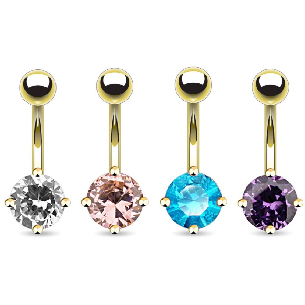 14kt Gold Plated Navel Ring with 7mm Round CZ