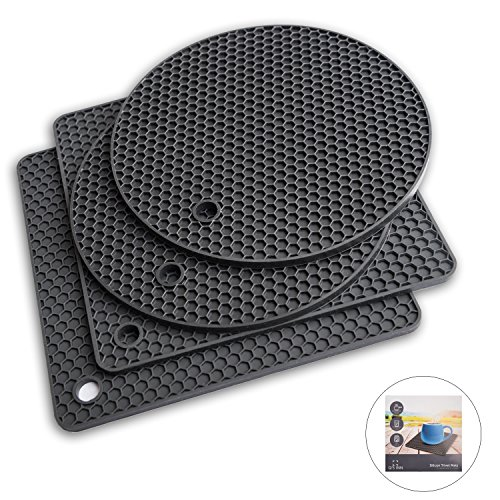 Q's INN Silicone Trivet Mats | Hot Pot Holder | Drying Mat. Our 7 in 1 Multi-Purpose Kitchen Tool is Heat Resistant to 440°F, Non-slip,durable, flexible easy to wash and dry and Contains 4 pcs.