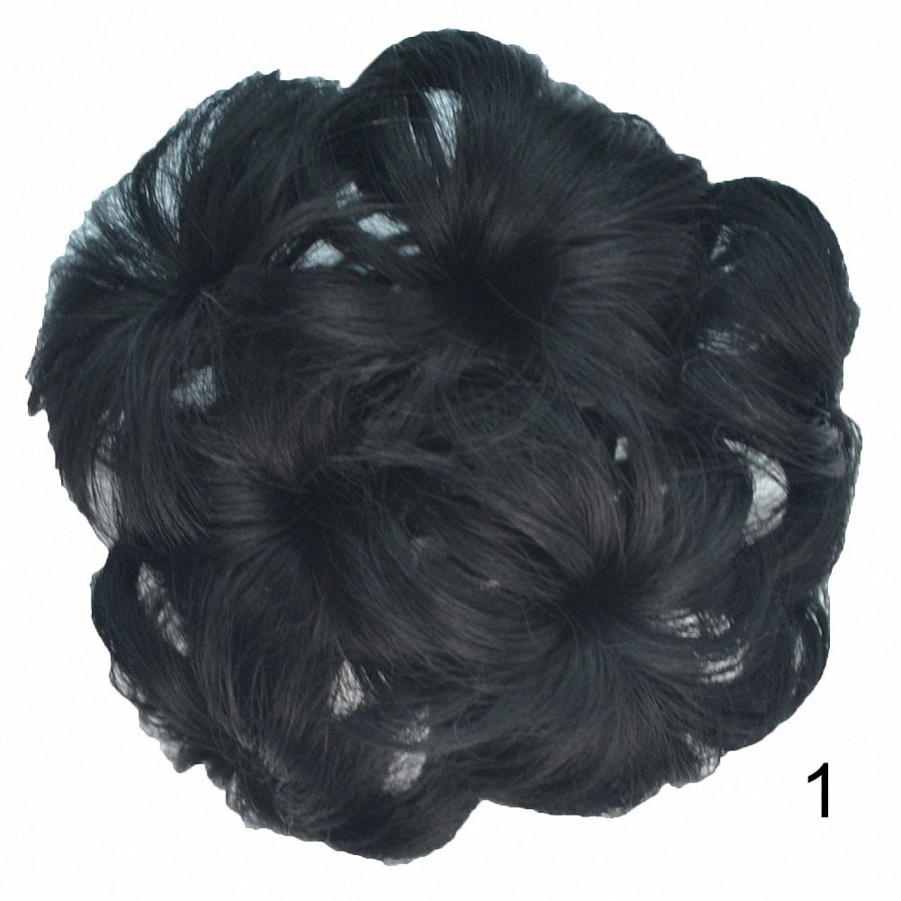 PrettyWit Bridal Ponytail Extension Scrunchie with Claw Tray Ponytail Hair Accessories Updo Hairpiece Ponytail Hair Extensions Wavy Curly Messy Hair Bun Chignons Hair Piece Wig for Women-Black 2 HDFB-2