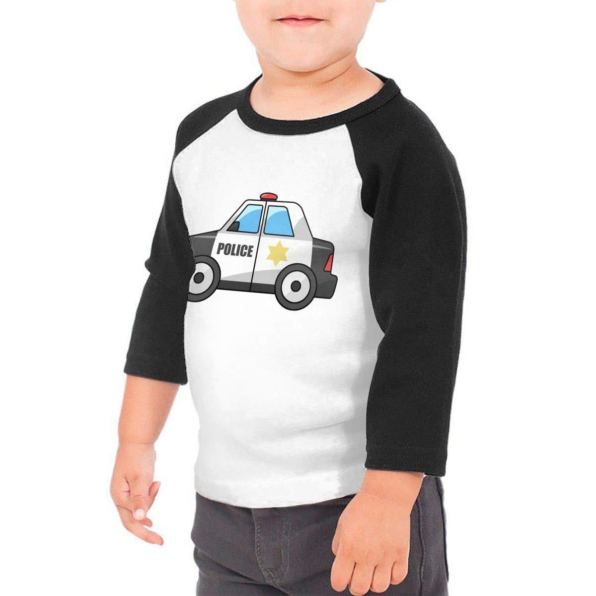 Kid's Boys& girls Police Car 3/4 Sleeve Raglan Tee Shirt For 2-6T Fillmore-M