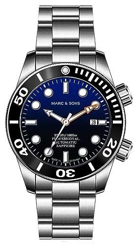 Marc & Sons 1000 m reloj de buceo automático azul, cristal de zafiro, Helium