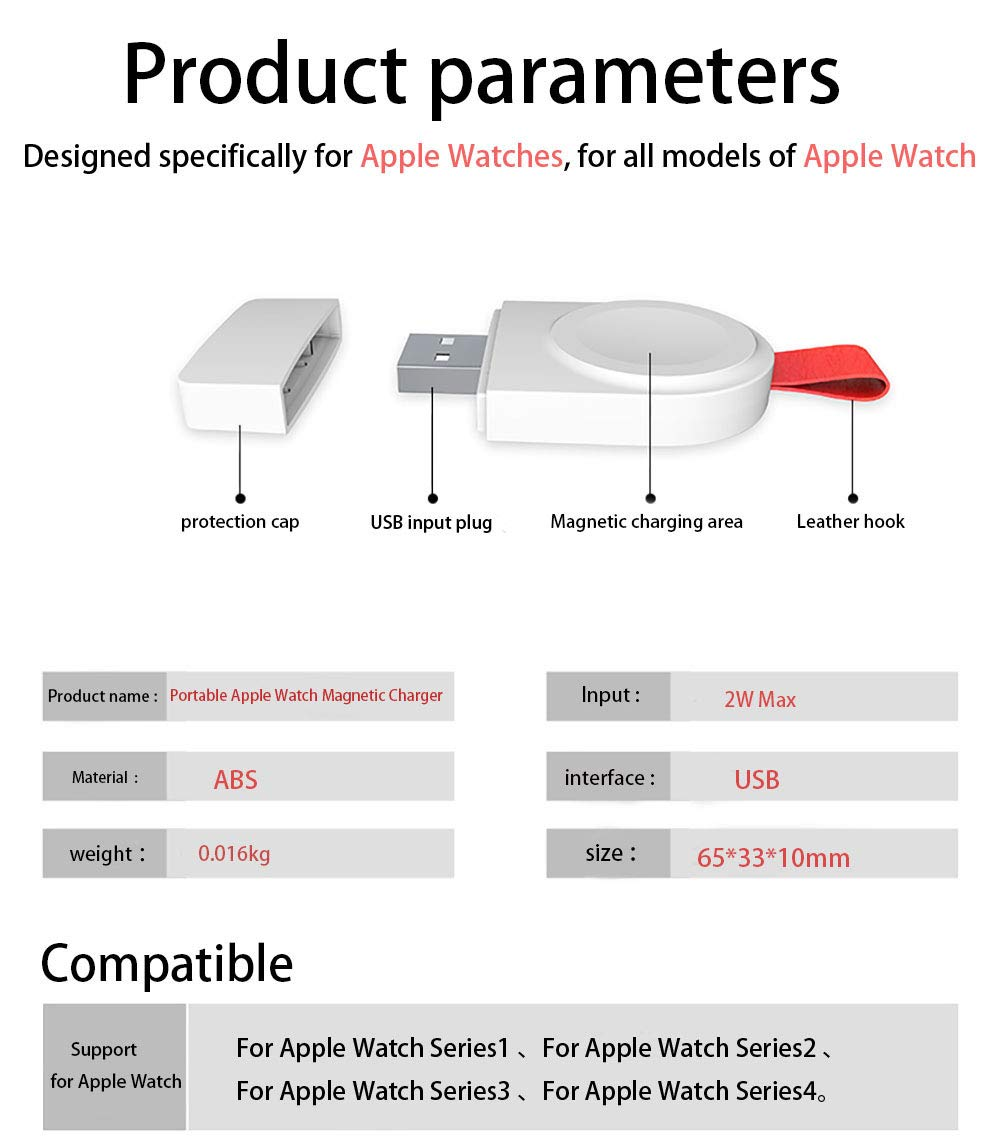 Watch Charger for Apple, Magnetic Portable Wireless iWatch Charger Compatible for Apple Watch Series 1 2 3 4 in 38mm 40mm 42mm 44mm